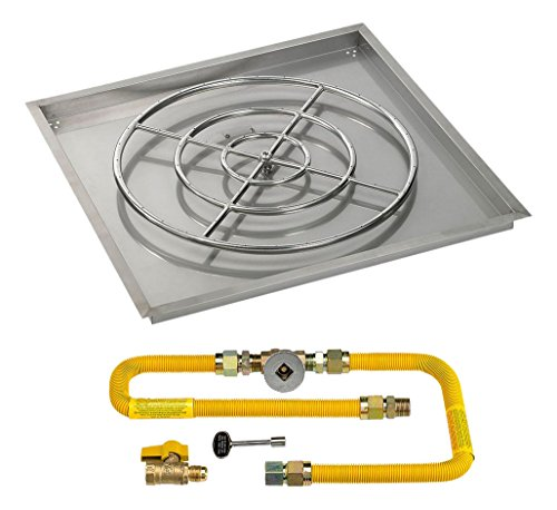 36 High-Capacity Square Stainless Steel Drop-In Pan with Match Light Kit (24 Fire Pit Ring) Natural Gas