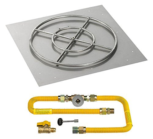 30 High-Capacity Square Stainless Steel Flat Pan with Match Light Kit (24 Ring) - Natural Gas