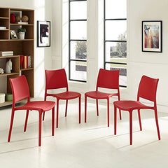 Hipster Dining Side Chair Set of 4 - Red