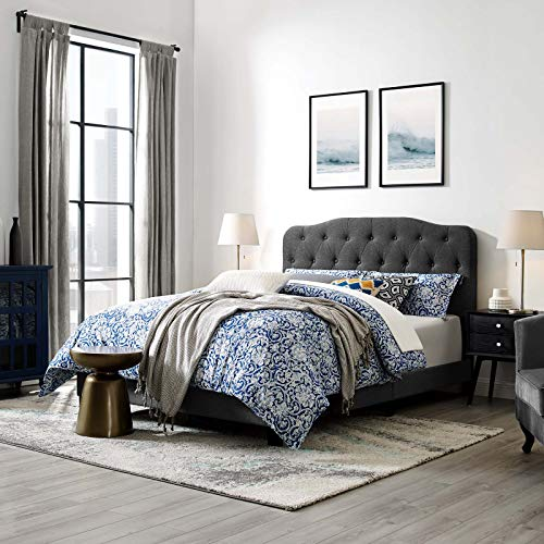 Amelia Twin Upholstered Fabric Bed - Gray