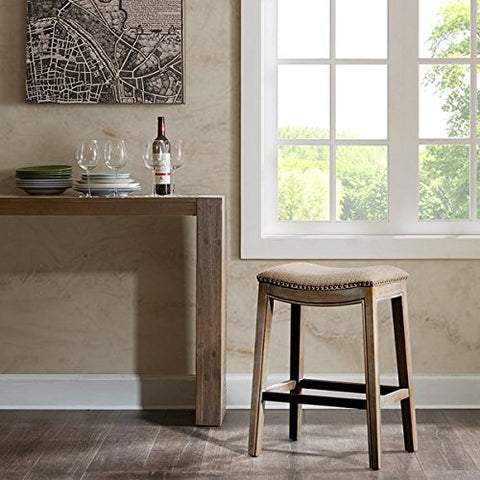 "Saddle Counter Stool1 Stool:20""W x 14.37""D x 27""H Seat:20""W x 14""D x 27""HLinenFUR101-0037"
