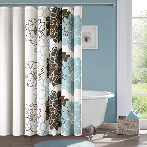 100 Cotton Sateen Floral Printed Shower Curtain1 Shower Curtain:72x72BlueMP70-324