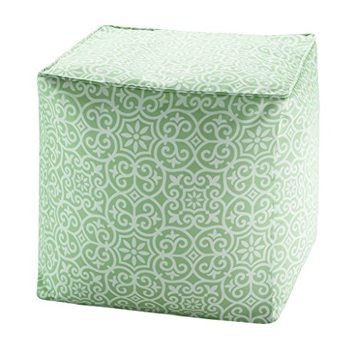 "Printed Fret 3M Scotchgard Outdoor Pouf1 Pouf:18x18x18""GreenMP31-3908"