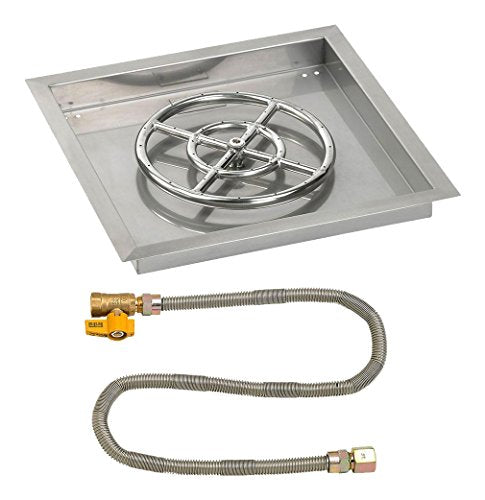 18 Square Stainless Steel Drop-In Pan with Match Light Kit (12 Fire Pit Ring) Natural Gas