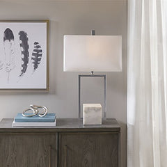 "Metal Table Lamp with Marble Base1 Table Lamp:16""L x 8""W x 27""H Base Size:5.125""W x 5.125""D x 5.125""H Cord Length:72""Grey/WhiteMP153-0177"