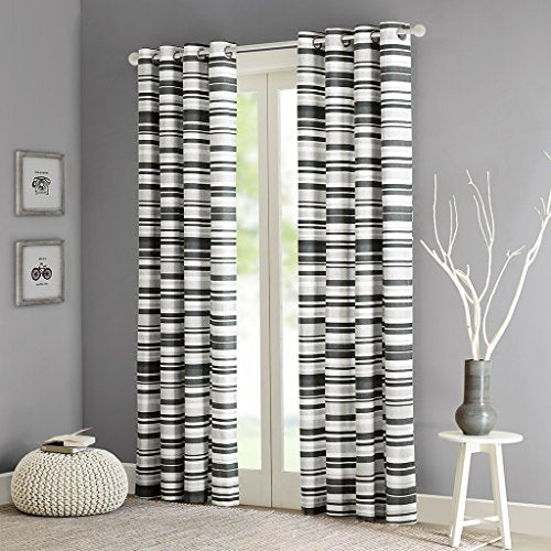 Cotton Stripe Printed Curtain1 Window Curtain:50x84GreyID40-558