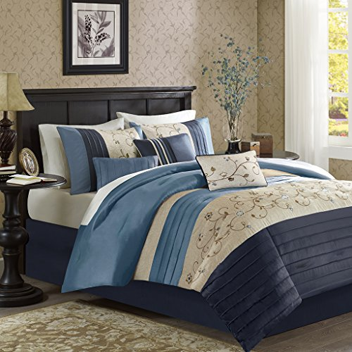 "Embroidered 7 Piece Comforter Set1 Comforter:104x92"" 2 King Shams:20x36"" (2) 1 Bedskirt:72x84+15"" 3 Decorative Pillows:18x18""/12x16""/12x18""NavyMP10-3451"