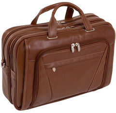 "15"" Leather Double Compartment Laptop Briefcase"