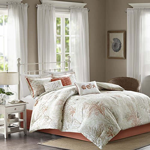 "7 Piece cotton sateen Comforter Set1 Comforter:90""W x 90""L 2 Standard Shams:20""W x 26""L + 2""D (2) 1 Bed skirt:60""W x 80""L + 15""D 3 Decorative Pillows:18""W x 18""L/16""W x 16""L/12""W x 18""LCoralMP10-4400"