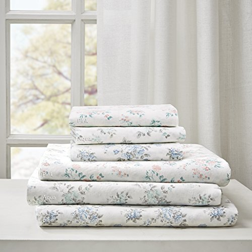 "Comfort Wash Cotton Sheet Set1 Flat Sheet:108x104"" 1 Fitted Sheet:72x84+15"" 4 Pillowcases:20x40""(4)BlueMP20-4097"