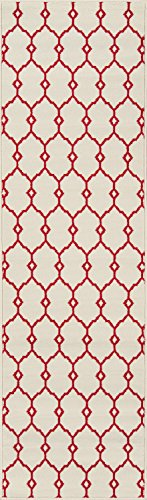 "Momeni Rugs BAJA0BAJ-2IVY2376, Baja Collection Contemporary Indoor & Outdoor Area Rug, Easy to Clean, UV protected & Fade Resistant, 2'3"" x 7'6"" Runner, Ivory"