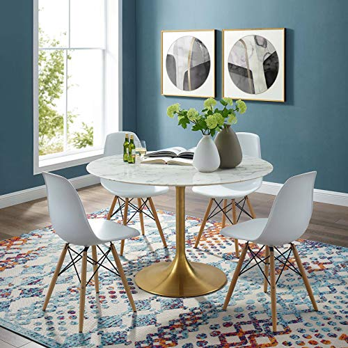 Lippa 47 Round Artificial Marble Dining Table Gold White - Gold White