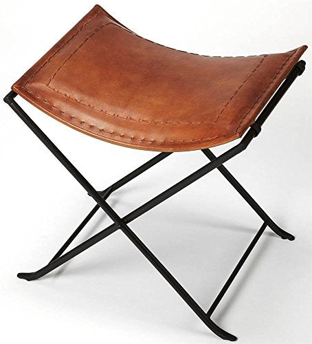 BUTLER MELTON BROWN LEATHER STOOL