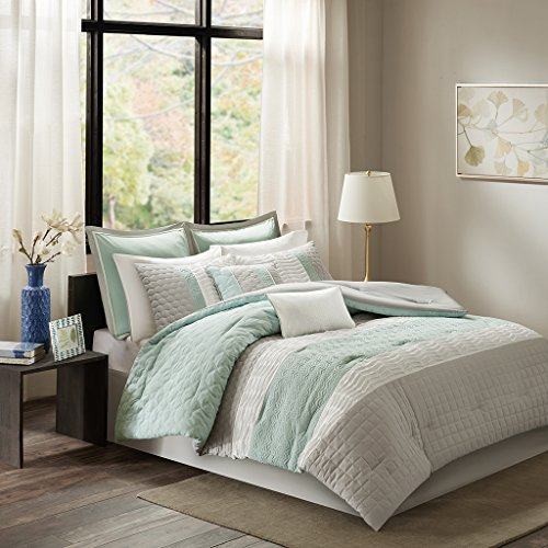 "8 Piece Comforter Set1 Comforter:104x92"" 2 King Shams:20x36"" (2) 1 Bedskirt:78x80+15"" 2 Decorative Pillows:18x18""/12x18"" 2 Euro Shams:26x26+1.5"" (2)AquaMP10-4154"