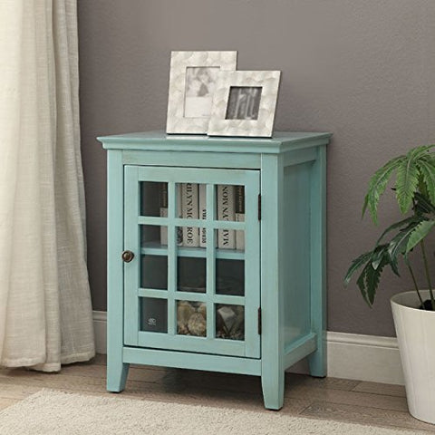 Largo Antique Turquoise Single Door Cabinet