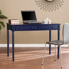 Janice Farmhouse 2-Drawer Writing Desk - Navy