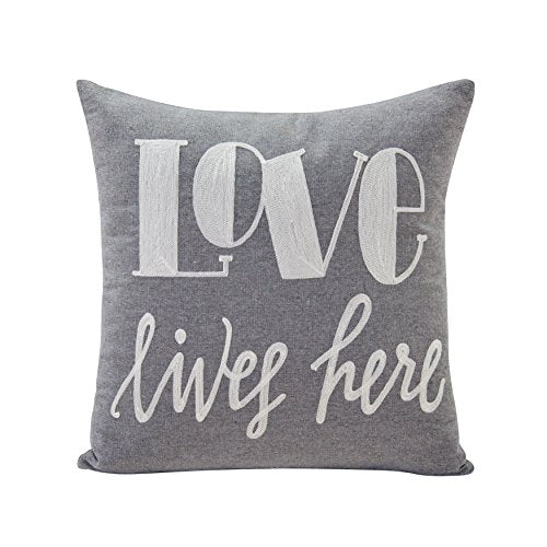 Gray Love Lives Here Linen Embroidered Decorative Toss Throw Accent Pillow by Danya B.