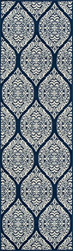 "Momeni Rugs BAJA0BAJ17NVY2376 Baja Collection Contemporary Indoor Outdoor Runner Area Rug, 2'3"" x 7'6"", Navy Blue"