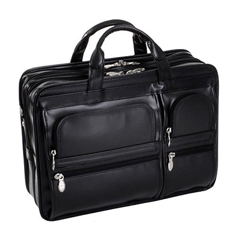 15 Leather Double Compartment Laptop Briefcase