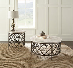 "Steve Silver Roland 24"" Round Stone Top End Table in Yellow and Bronze"
