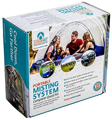 EXTREMEMIST Portable Misting System - 4 Mist Nozzles, Rechargable Battery, and Remote - Easy to Setup and Take Down Mister for Outdoor Patios, Golf Carts, Greenhouses, Canopy, Decks, Porches, & More
