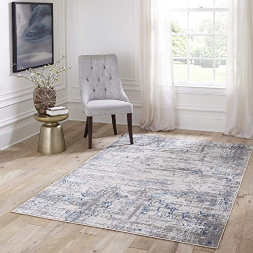 "Momeni Rugs JULIEJU-01BLU2376 Juliet Collection Transitional Runner Area Rug, 2'3"" x 7'6"", Blue"