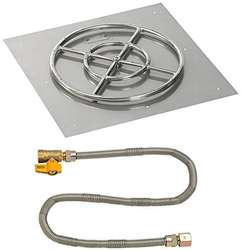 "24"" Square Stainless Steel Flat Pan with Match Light Kit (18"" Ring) - Natural Gas"