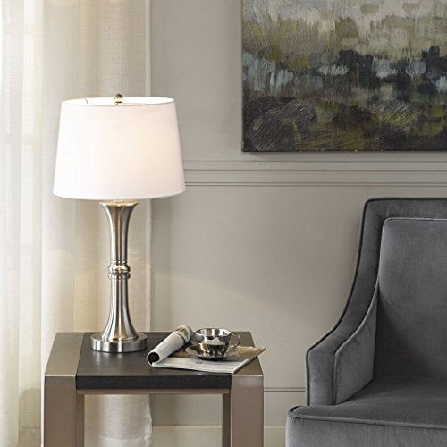 Table Lamp1 Harper Table lamp:13Lx13Wx25HShade Size:11Dx13Wx9HBase Dimensions:5.5Lx5.5Wx16HCord Length:72SilverMP153-0143