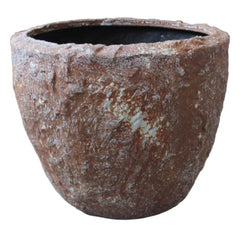 "ROCKY ROUND TALL PLANTER, 3/set. 14"" x 12""; 18"" x 14""; 21"" x 17"""