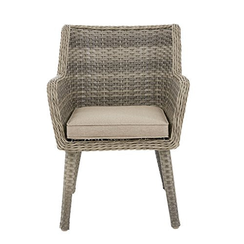 "Outdoor Arm Chair(set of 2)2 Outdoor Arm Chairs:25.2""W x 27.56""D x 34.45""H(2) Seat:21.26""W x 20""D x 19.3""H Seat Cushion Thickness:1.97"" Arms:21.26""W x 26.18""H Maximum Weight Capacity:300 LbsGrey/SandMP145-0342"