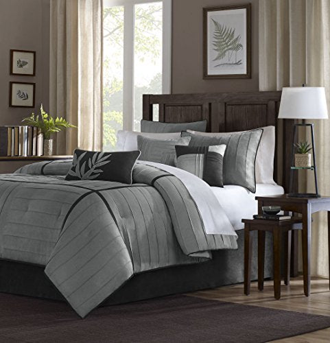 "7 Piece Comforter Set1 Bed Skirt:54x75+15"" 2 Standard Shams:20x26 (2) 1 Comforter:82x90"" 3 Decorative Pillows:18x18""/16x16""/12x20""GreyMP10-1338"