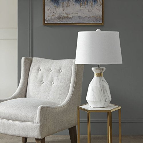 Table Lamp1 Table Lamp:15L x 15W x 23HBase:8D x 12HShade:13D x 15W x 10HCord Length:72Grey/WhiteMP153-0163