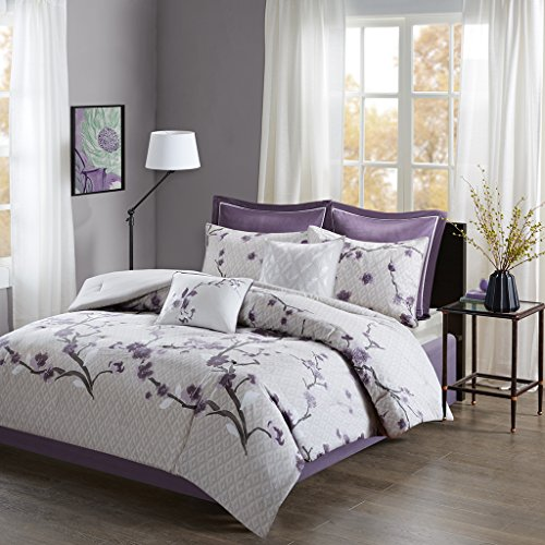 "8 Piece Cotton Comforter Set1 Comforter:104x92"" 2 King Shams:20x36""(2) 1 Bed skirt:72x84+15"" 2 Decorative Pillows:18x18""/12x18"" 2 Euro Shams:26x26+2""(2)PurpleMP10-4168"