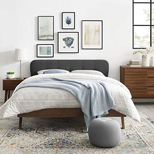 Gianna Queen Upholstered Polyester Fabric Platform Bed - Gray
