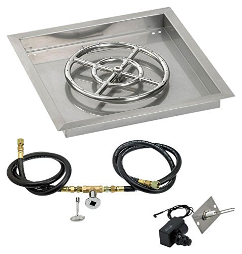18 Square Stainless Steel Drop-In Pan with Spark Ignition Kit (12 Fire Pit Ring) Natural Gas