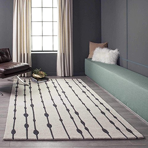 "Momeni Rugs DELHIDL-64GRY3656 Delhi Collection 100% Wool Hand Carved & Hand Tufted Contemporary Area Rug, 3'6"" x 5'6"", Grey"