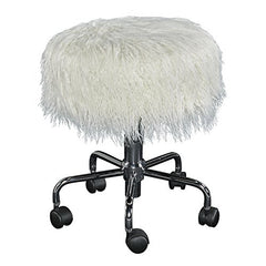Tillie White Faux Fur Stool