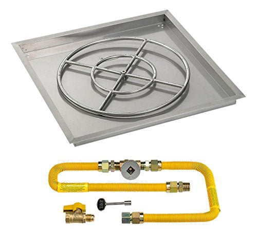 30 High-Capacity Square Stainless Steel Drop-In Pan with Match Light Kit (24 Fire Pit Ring) Natural Gas