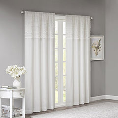 "Cotton Horizontal Ruffle Curtain1 Window Panel:50x84""WhiteWIN40-142"