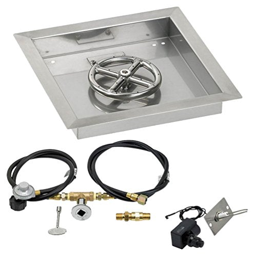 12 Square Stainless Steel Drop-In Pan with Spark Ignition Kit (6 Fire Pit Ring) Propane