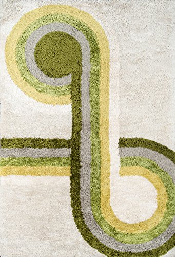 "Novogratz Retro Collection Bullseye Shag Area Rug, 2'3"" x 7'6"" Runner, Green"