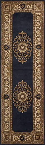 "Momeni Rugs MAISOMA-08BLU2680 Maison Collection, 100% Wool Hand Carved & Hand Tufted Traditional Area Rug, 2'6"" x 8' Runner, Blue"