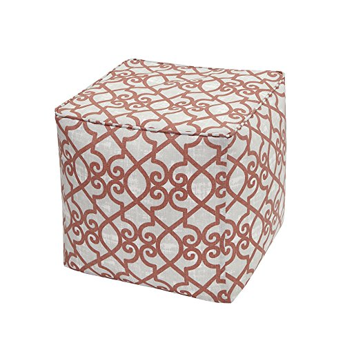 "Fretwork 3M Scotchgard Outdoor Square Pouf1 Pouf:18x18x18""CoralMP31-2867"