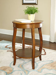 Hazelnut Round Table with shelf