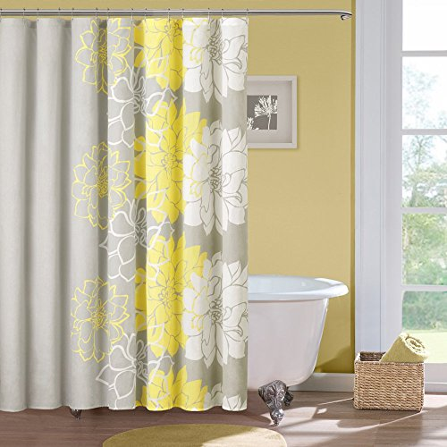 100 Cotton Sateen Floral Printed Shower Curtain1 Shower Curtain:72x72YellowMP70-267