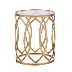 "Metal Eyelet Accent Table1 Table:Dia 16"" x 20.125""H Top Frame:Dia 16"" x 0.75""H Mirror:Dia 15.375"" x 0.2""H Maximum Weight Capacity:20LBSGold/GlassMP120-0221"