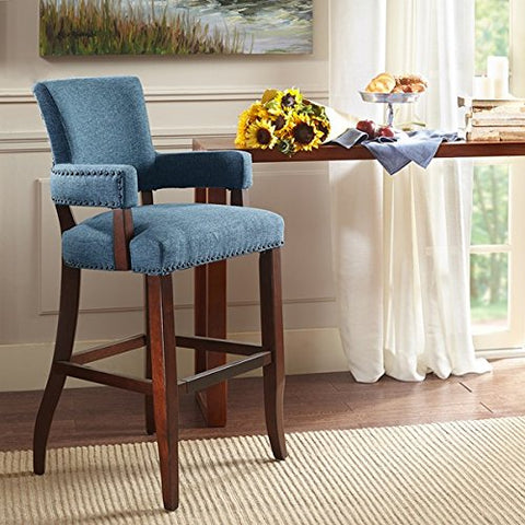 "Arm 30'' Bar Stool1 Bar Stool:22.5""W x 24.5""D x 44.25""H Seat:17.75""W x 17.75""D x 30""H Arms:17.75""W x 35.75""H Distance Between Legs (Front to Front):19"" Distance Between Legs (Front to Back):17.5"" Distance Between Legs (Back to Back):16.75""BlueMP104-0048"