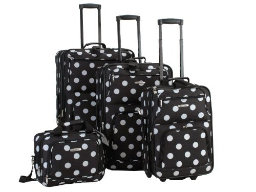 4PC BLACK DOTS LUGGAGE SET