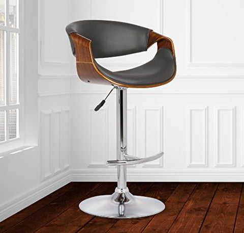 Armen Living Butterfly Adjustable Swivel Barstool in Gray Faux Leather with Chrome Finish and Walnut Wood
