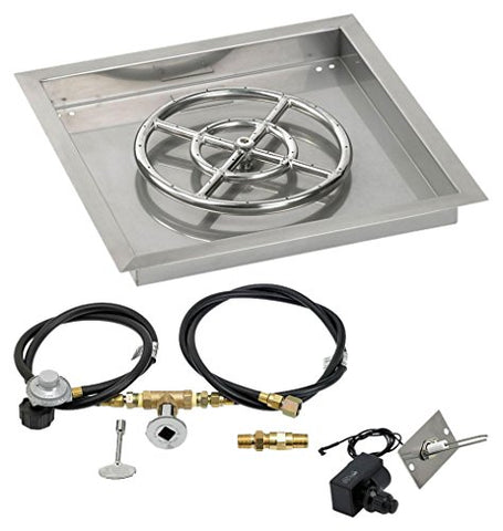 18 Square Stainless Steel Drop-In Pan with Spark Ignition Kit (12 Fire Pit Ring) Propane